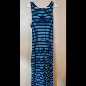 GAP Sleeveless Blue Striped Summer Maxi Dress